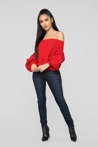 Addicted To Love Sweater - Red Angle 2