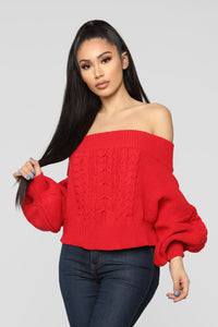 Addicted To Love Sweater - Red Angle 1