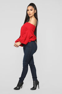 Addicted To Love Sweater - Red Angle 4