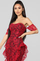 Barcelona Nights Lace Dress - Red