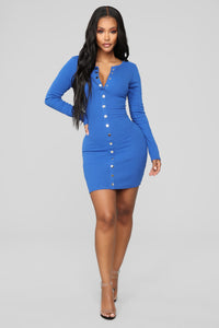 Fall In Puppy Love Mini Dress - Royal