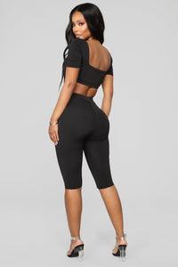 Chloe Long Biker Set - Black