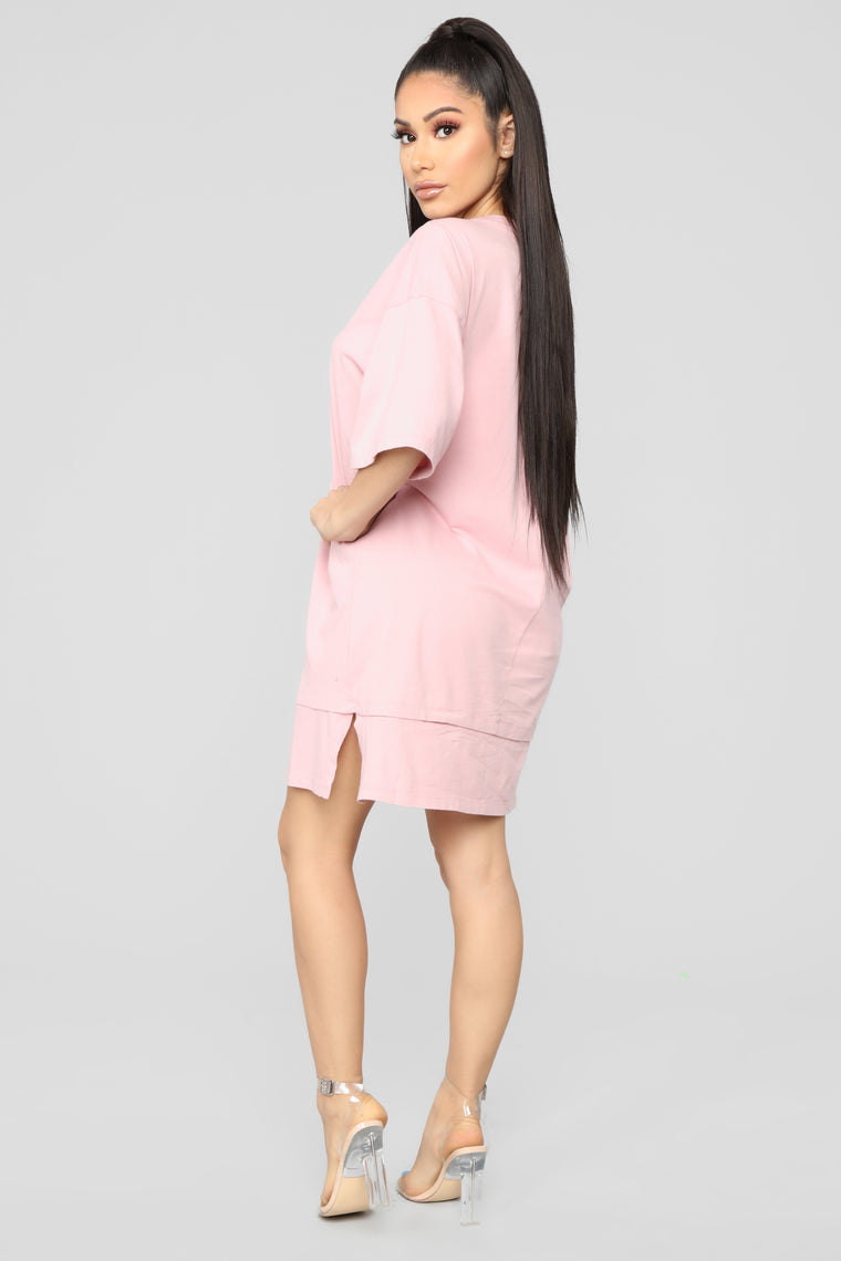 Boxed In Oversize T-Shirt Dress-Pink