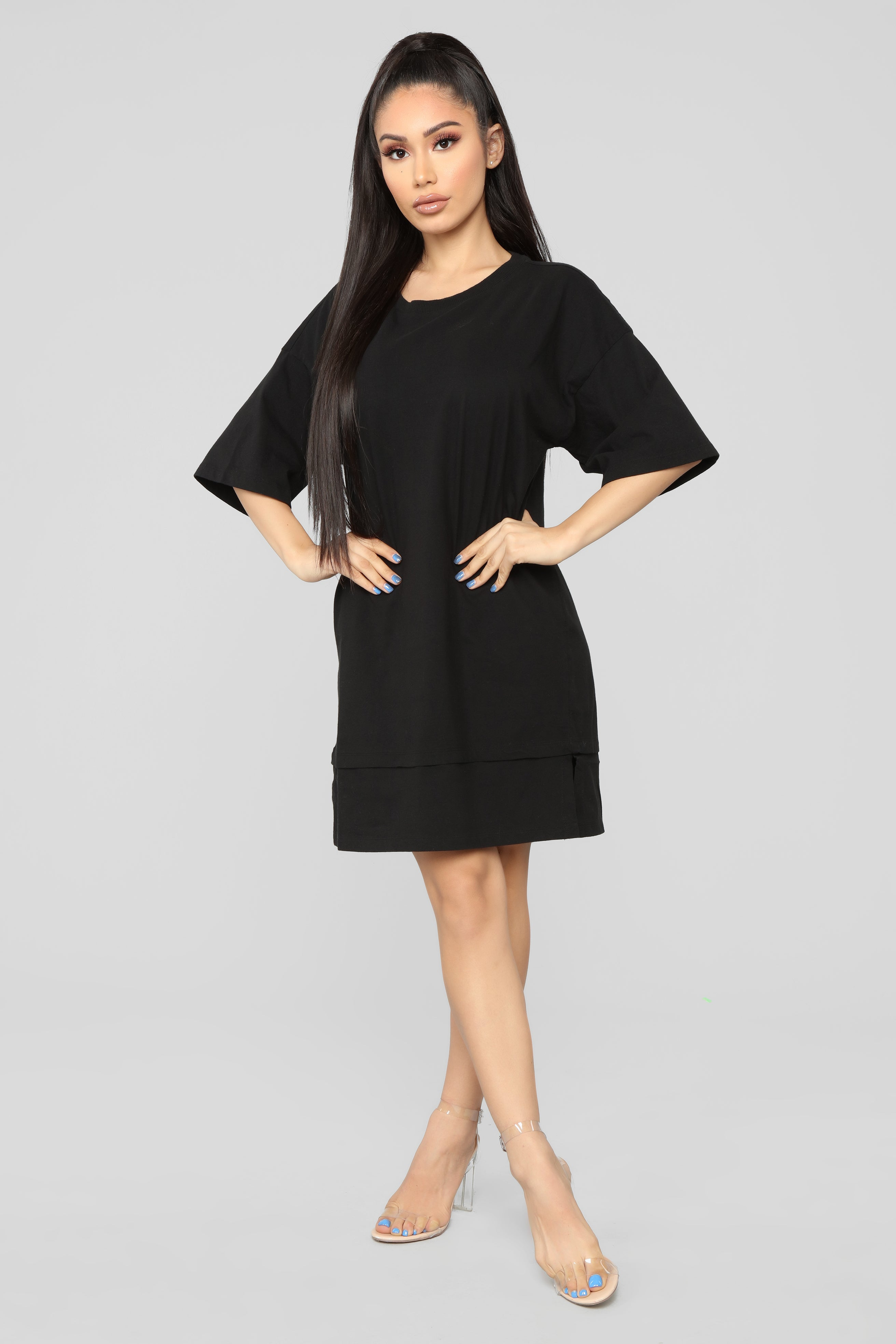 Boxed In Oversize T Shirt Dress Black