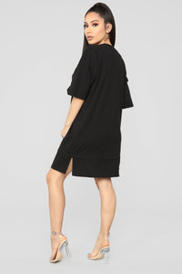 Boxed In Oversize T-Shirt Dress-Black