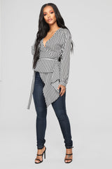 Asymmetrical Stripe Blouse   Black/White by Fashion Nova