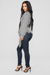 Asymmetrical Stripe Blouse - Black/White