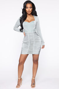 Fitting In Ruched Mini Dress - Sage Angle 1