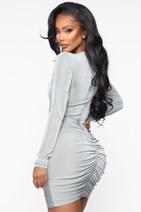 Fitting In Ruched Mini Dress - Sage Angle 3