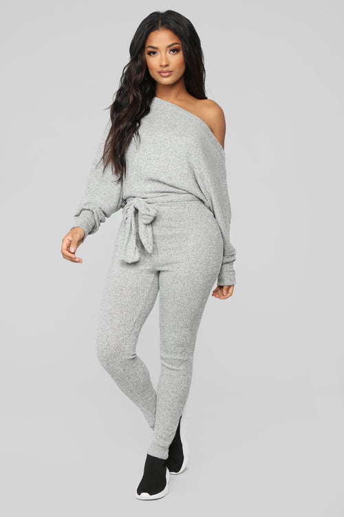 Pro Lounger Ribbed Jumpsuit - Heather Grey