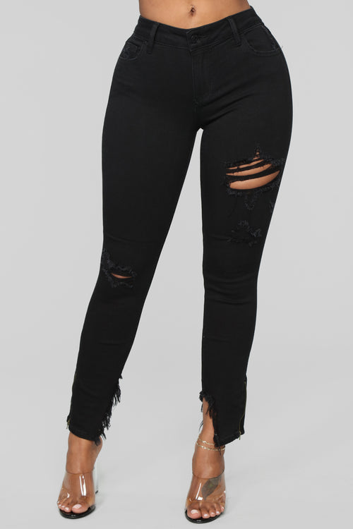 Let Me Be Distressed Ankle Jeans - Black