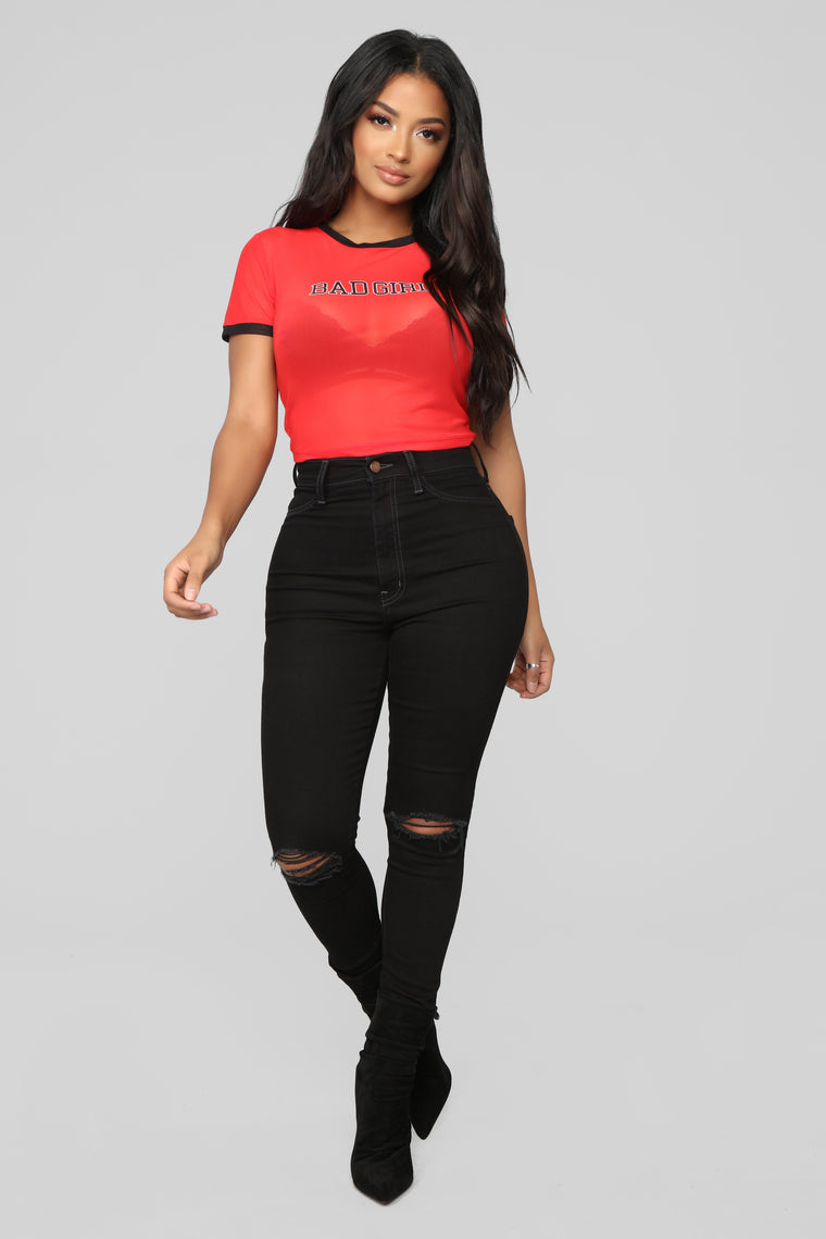 Baddie Mesh Top - Red