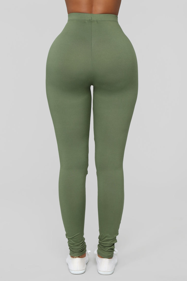 Hit The Slit Basic Leggings - Olive
