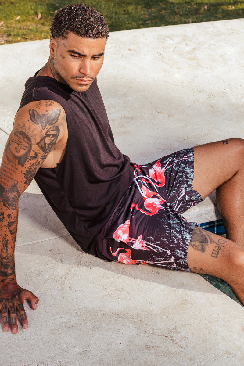 Don Board Shorts - Flamingo Border