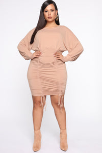 Keep It Ruched Mini Dress - Taupe Angle 6