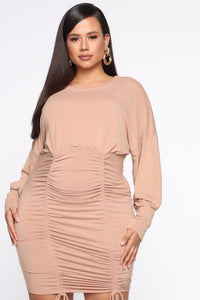 Keep It Ruched Mini Dress - Taupe Angle 7