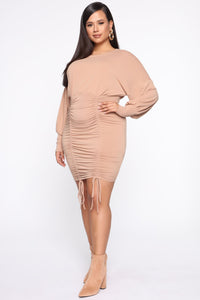 Keep It Ruched Mini Dress - Taupe Angle 8