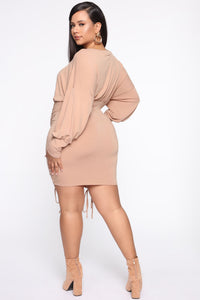 Keep It Ruched Mini Dress - Taupe Angle 9