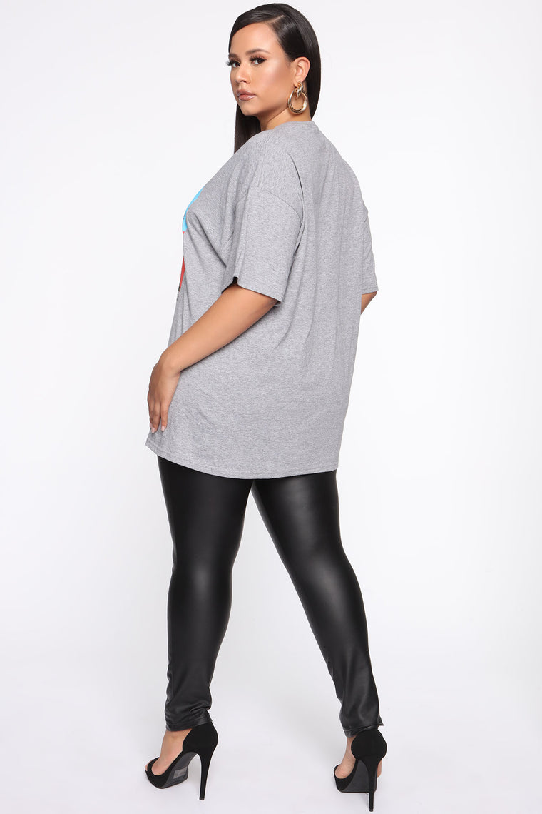 Poetic Justice Art Tunic Top - Heather Grey