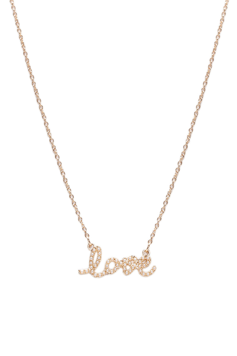 Love Pearl Pendant Necklace - Gold