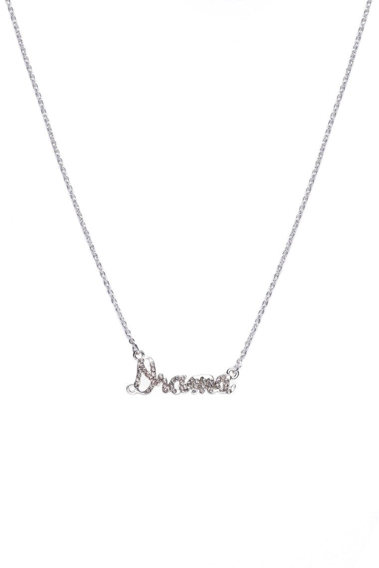 Drama Rhinestone Necklace - Silver