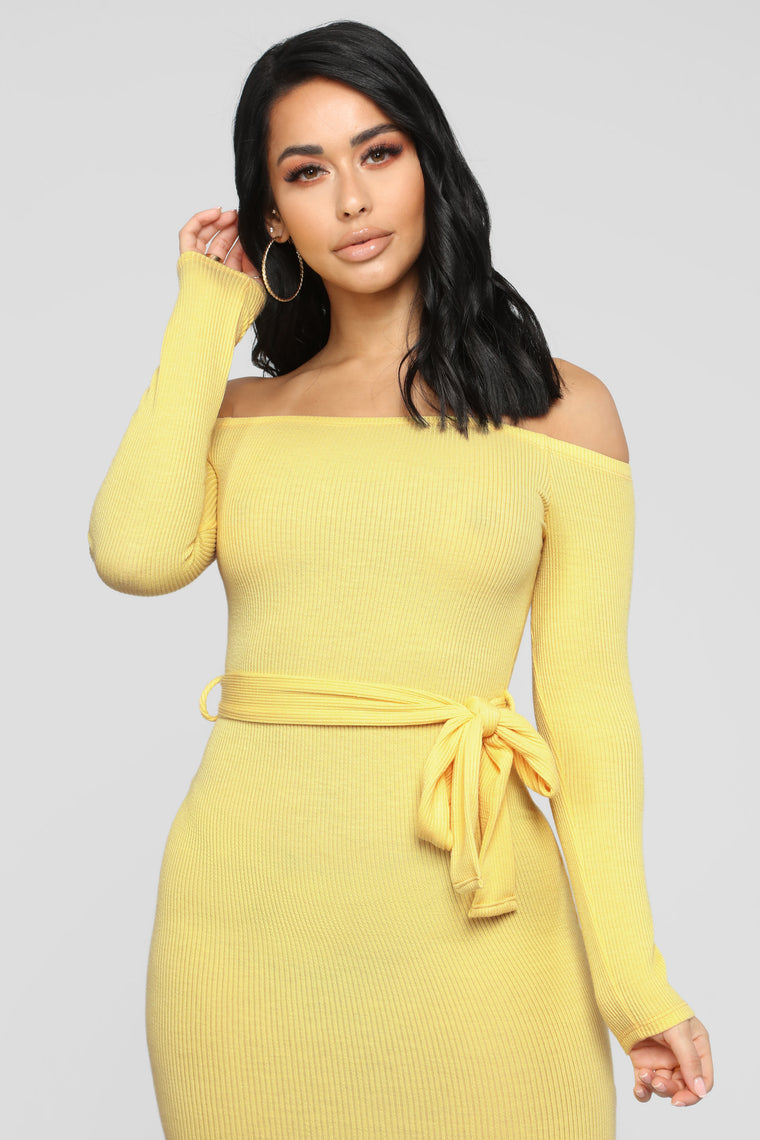 Soft And Sweet Off Shoulder Mini Dress - Yellow