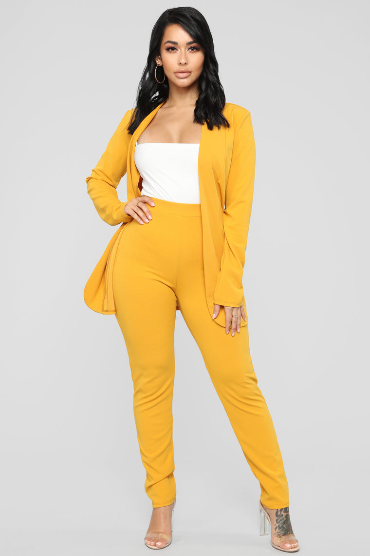 Payin' It Forward Blazer Set - Mustard