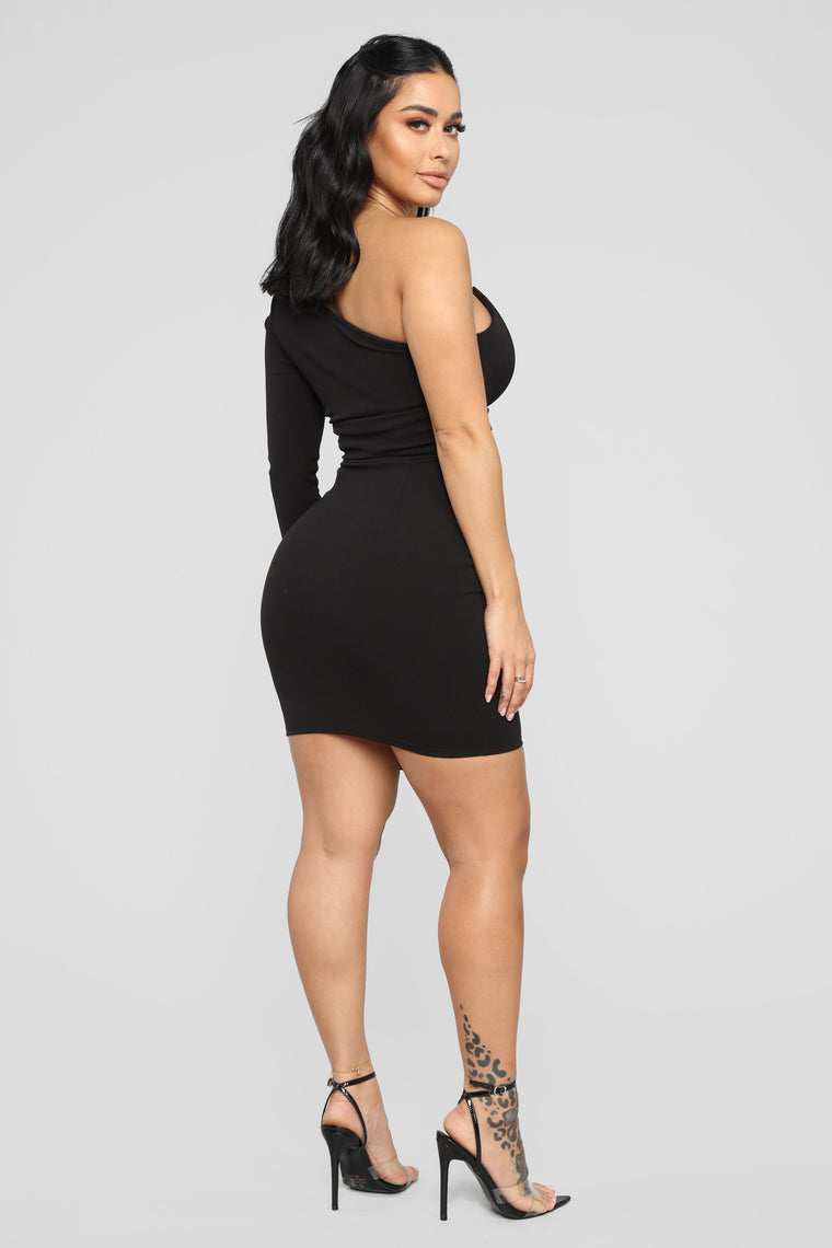 Meet Me In The City One Shoulder Dress - Black