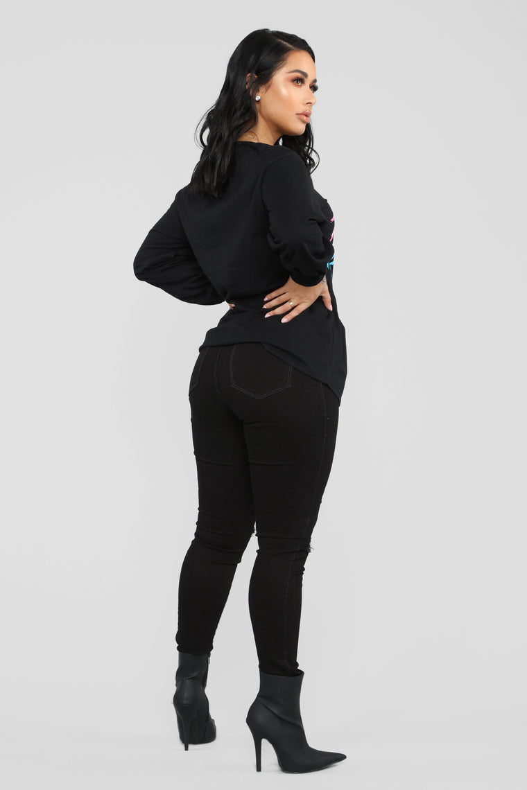 Always Hustling LS Tunic Top - Black