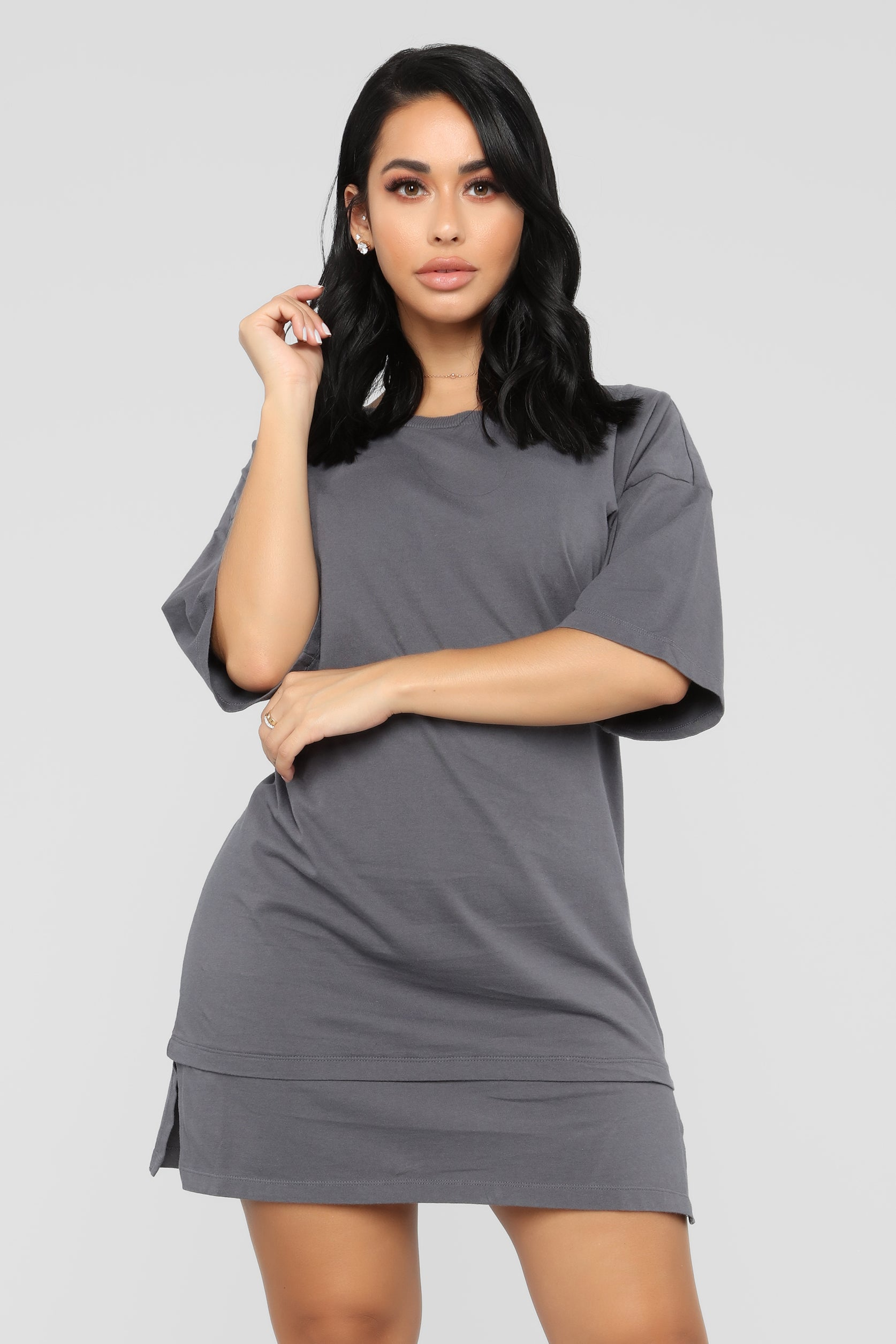 Boxed In Oversize T Shirt Dress Charcoal