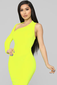 One Of A Kind Asymmetrical Dress - Neon Yellow