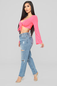 Knot Gonna Happen Crop Top - Neon Pink