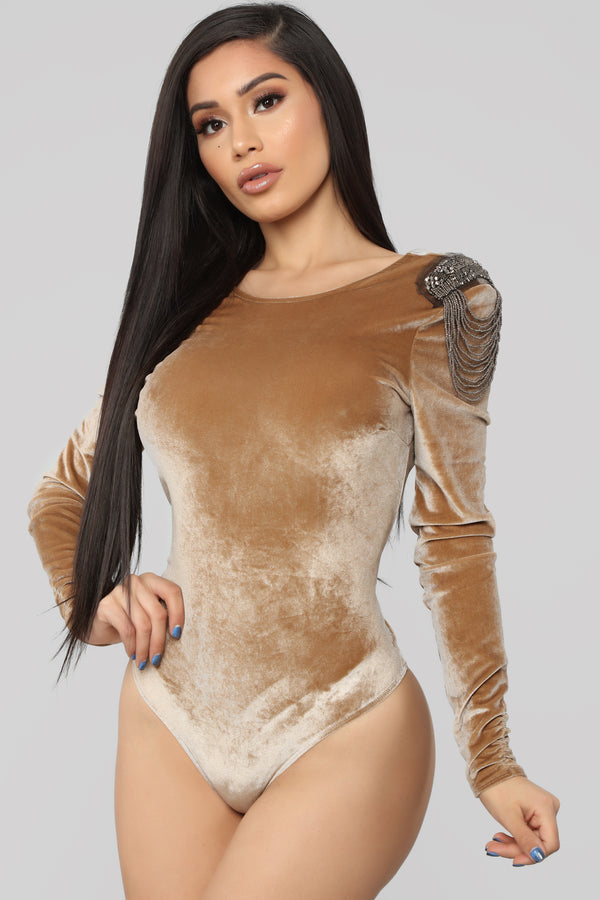 e03a829486 Wifey Type Long sleeve Bodysuit - Tan