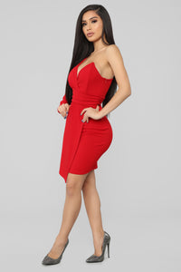 Meet Me In The City One Shoulder Dress - Red