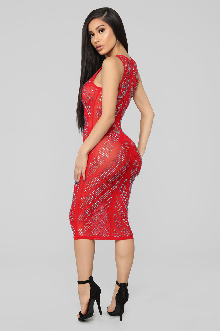 Just For You Rhinestone Dress - Red