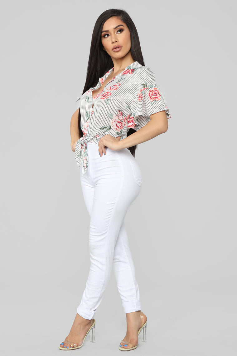Happy With You Blouse - White/Combo