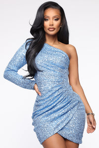 First Strike One Shoulder Sequin Dress - Blue Angle 1