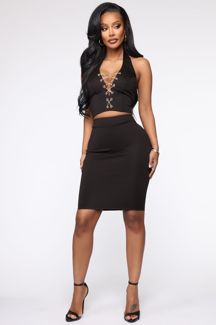 That's Show Business Skirt Set - Black