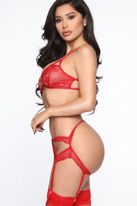 From The Heart Lace 3 Piece Set - Red Angle 4