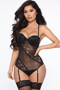 Just Like That Lace Garter Teddy - Black