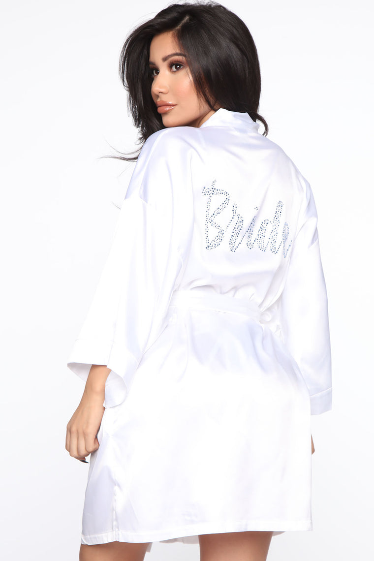Blushing Bride Rhinestone Satin Robe   White by Fashion Nova