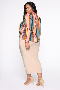 Feel The Groove Striped Satin Top - Pink