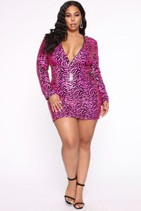 Being Myself Sequin Mini Dress - Pink Angle 6