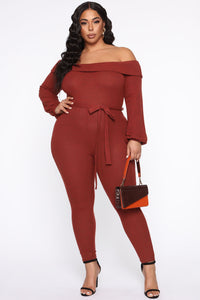 Cozy With You Jumpsuit - Brick Red Angle 5