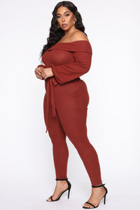Cozy With You Jumpsuit - Brick Red Angle 7
