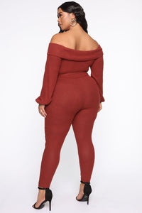 Cozy With You Jumpsuit - Brick Red Angle 8