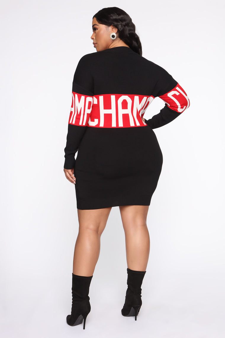 Could've Been Tunic Sweater Dress - Black/Red