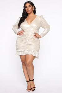 Late Date Night Ruched Mini Dress - Champagne Angle 5