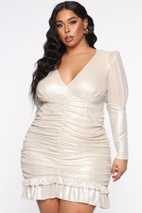 Late Date Night Ruched Mini Dress - Champagne Angle 7