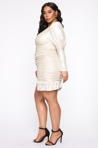 Late Date Night Ruched Mini Dress - Champagne Angle 8